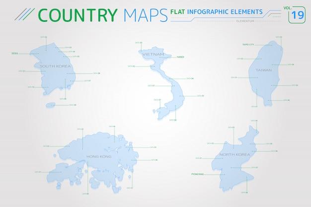 Mapas vetoriais de coréia do sul, coréia do norte, taiwan, vietnã e hong kong