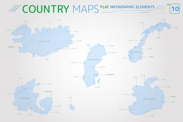 Mapas vetoriais de islândia, suécia, noruega, dinamarca e irlanda