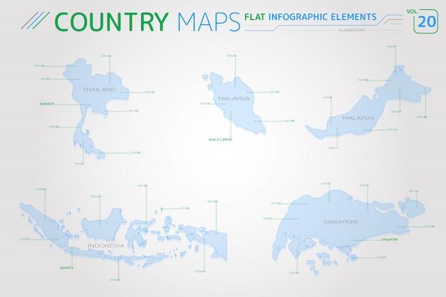 Mapas vetoriais de tailândia, malásia, indonésia e cingapura