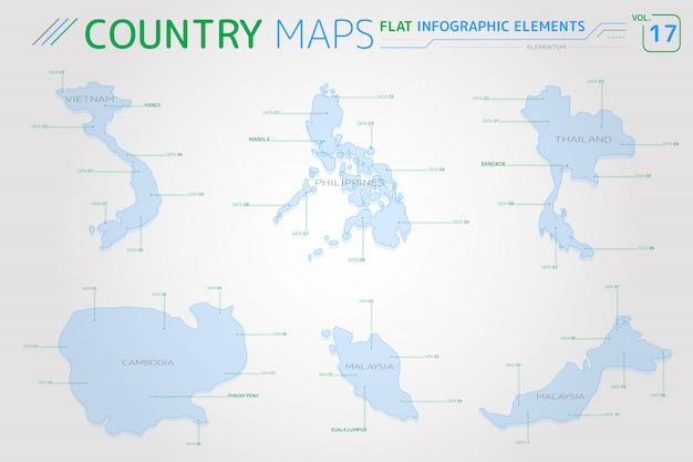 Mapas vetoriais de vietnã, malásia, filipinas, tailândia e camboja