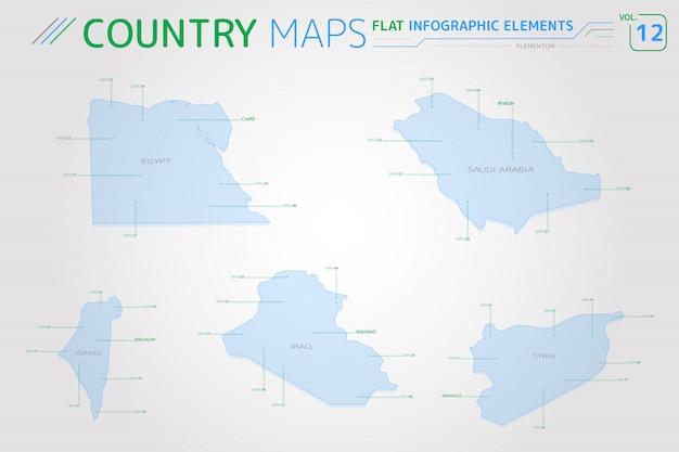 Mapas vetoriais do egito, síria, israel, iraque e arábia saudita