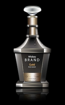 Maquetas realistas de garrafas de whisky, embalagens de produtos