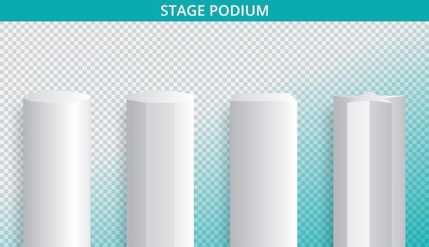 Maquete 3d branca do pódio em diferentes formas