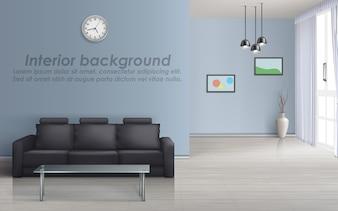 Maquete 3D da sala vazia com sofá preto, mesa de vidro, janela com cortinas