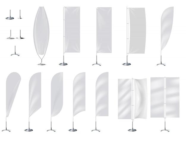 Maquete 3d realista bandeira bandeira em branco Vetor Premium