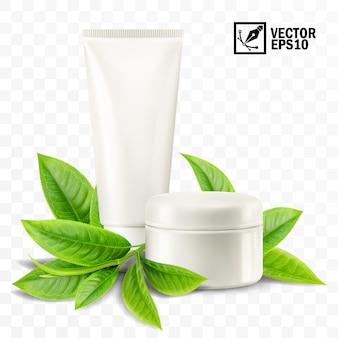Maquete 3d realista isolada, frasco e tubo com creme cosmético, folhas de chá ou hortelã