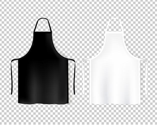 Maquete aventais branco e preto sobre fundo transparente