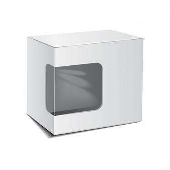 Maquete caixa de papelão pacote plástico branco com janela.