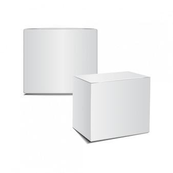 Maquete caixa de papelão pacote plástico branco.