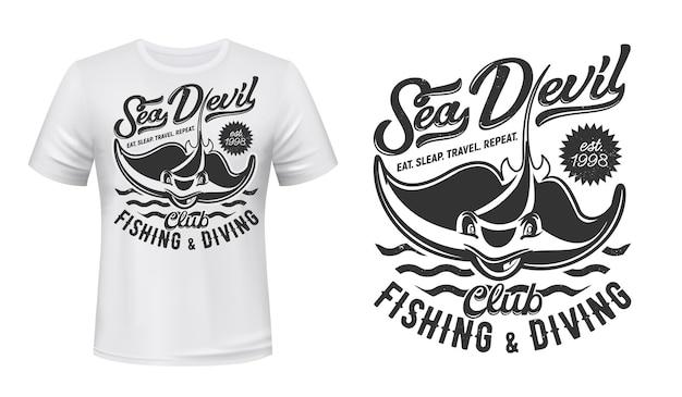 Maquete com estampa de camiseta ray, clube de pesca e mergulho