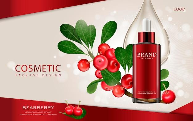 Maquete cosmética de ilustração 3d com ingredientes no fundo