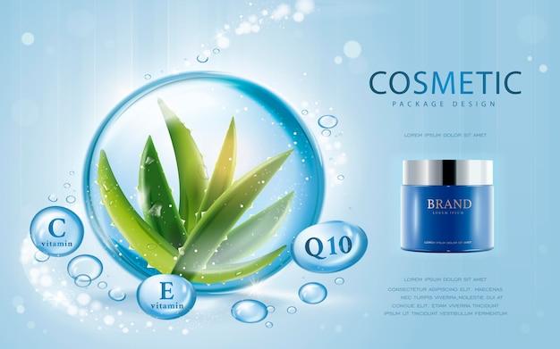 Maquete cosmético de ilustração 3d com ingredientes de aloe vera na gota d'água