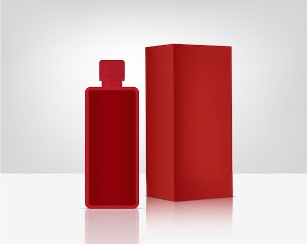 Maquete da bomba de frasco de spray cosmético orgânico realista e caixa para produtos para a pele
