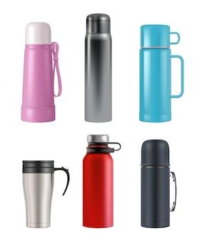 Maquete da garrafa térmica. balão de vácuo de recipientes redondos copo realista para produtos líquidos vetoriais conjunto 3d. ilustração térmica a vácuo, garrafa a vácuo com alça