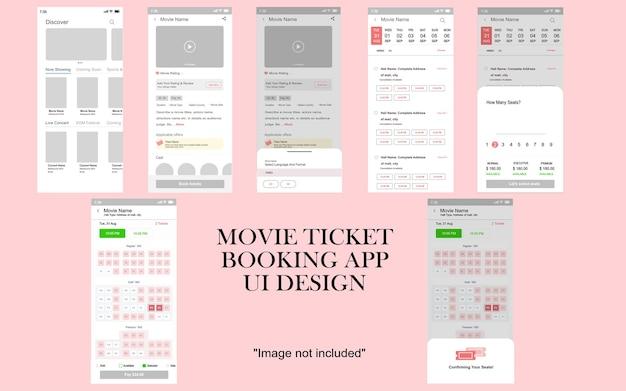 Maquete da interface do usuário de ingresso de cinema