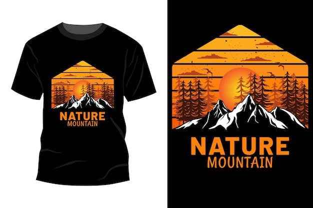 Maquete da t-shirt da montanha da natureza com design vintage retro
