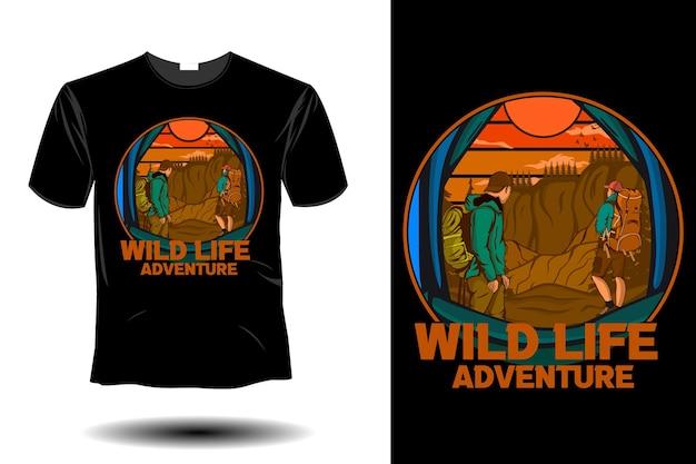 Maquete de aventura de vida selvagem com design retro vintage