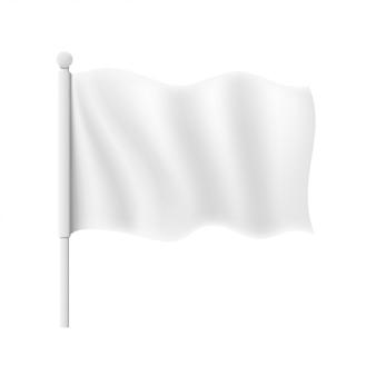 Maquete de bandeira branca ondulada