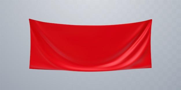 Maquete de banner de publicidade têxtil vermelho. ilustração 3d suspensão de tecido enrugado. tela esticada.