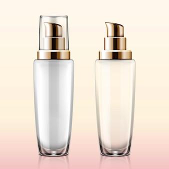 Maquete de bomba de loção cosmética de vidro transparente definido em ilustração 3d