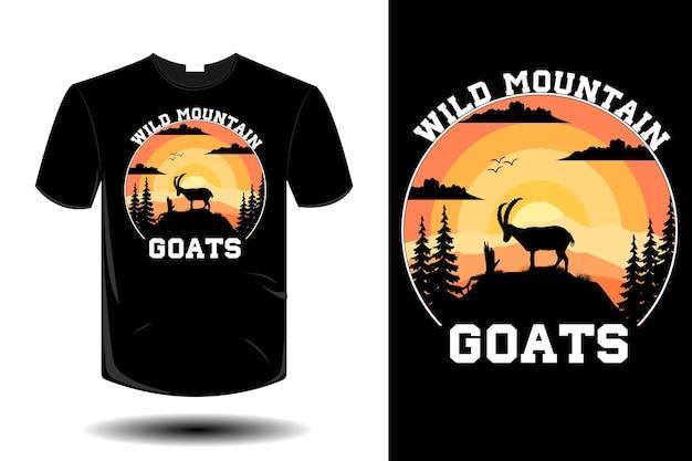 Maquete de cabras selvagens da montanha com design retro vintage