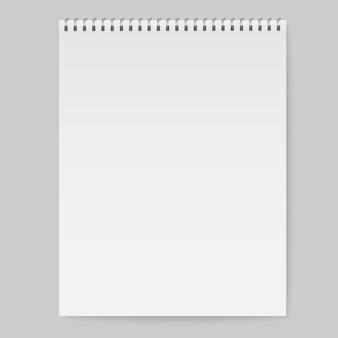 Maquete de caderno espiral realista, capa de caderno de modelo.