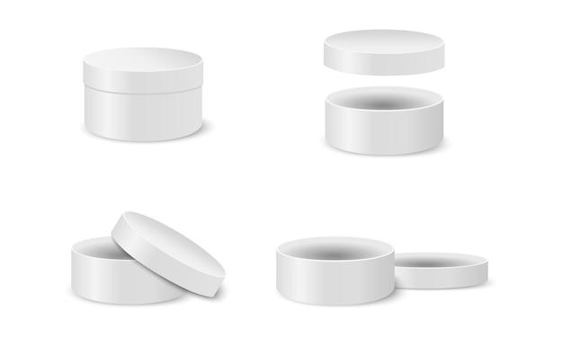 Maquete de caixas de papelão redondas embalagens de cilindro de prata fechadas e abertas