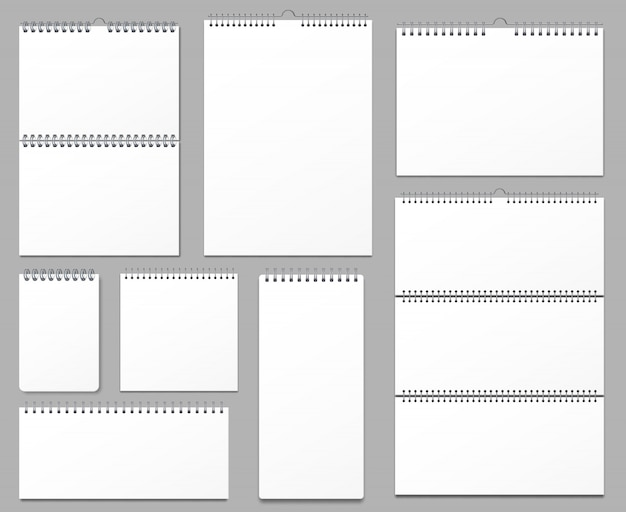 Maquete de calendário. calendários de parede vinculados em espiral de metal, pendurando notas página e caderno páginas conjunto de ilustração 3d realista