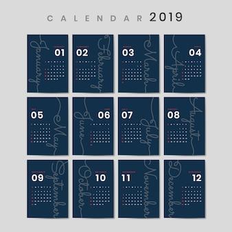 Maquete de calendário de design cursivo