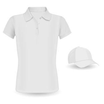 Maquete de camisa polo. tshirt de vetor e boné de beisebol