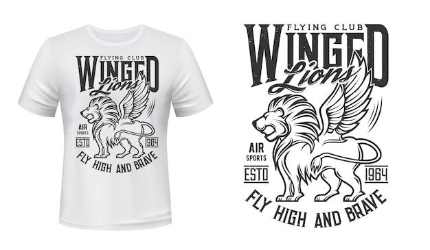 Maquete de camiseta com estampa de leão, clube de vôo da aviação