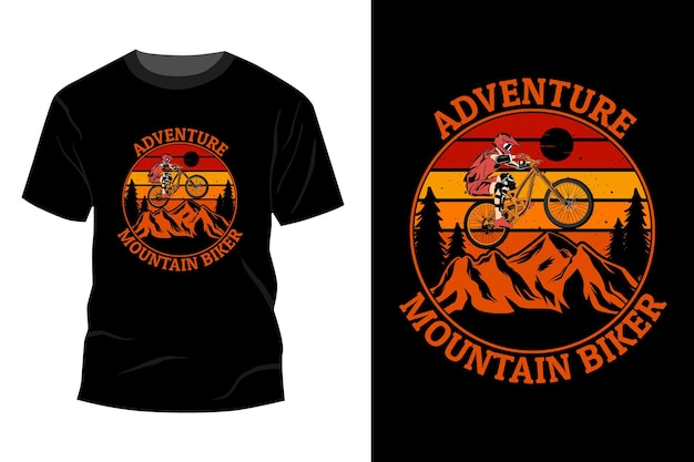 Maquete de camiseta de mountain bike de aventura com design vintage retro