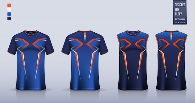 Maquete de camiseta, design de modelo de camisa esporte para camisa de futebol Vetor Premium