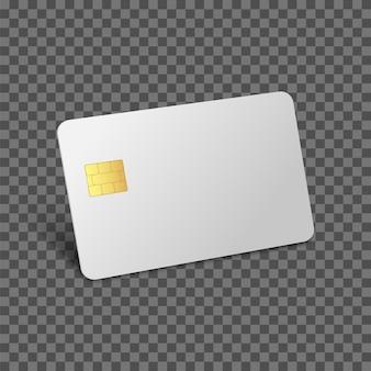 Maquete de cartão de crédito de débito d banco realista cartão em branco cartão plástico vazio com chip