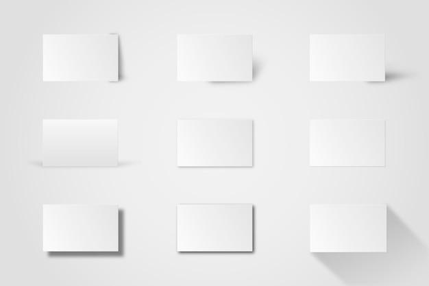 Maquete de cartão de visita em branco em conjunto de tons de branco