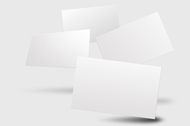 Maquete de cartão de visita em branco em tom branco com vista frontal e traseira