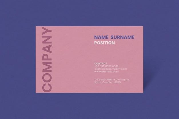 Maquete de cartão de visita simples em tom rosa