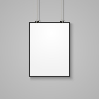 Maquete de cartaz branco na parede cinza