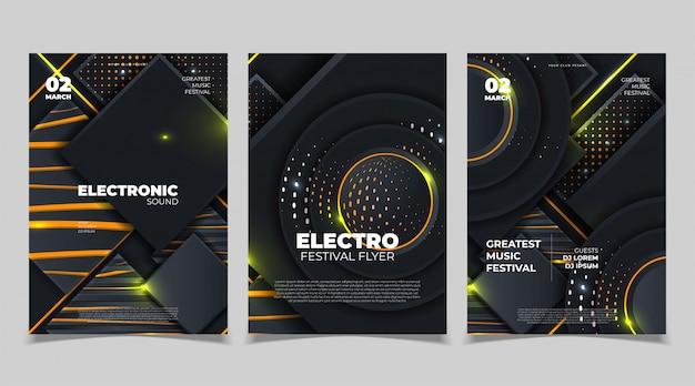 Maquete de cartaz festival de música eletrônica. panfleto de festival de música eletrônica. ilustração vetorial
