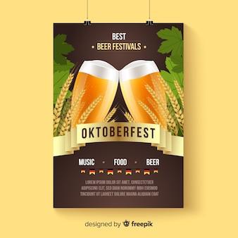 Maquete de cartaz oktoberfest em estilo realista