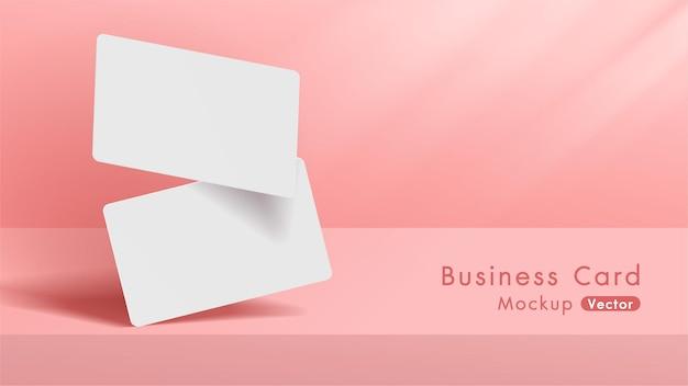 Maquete de cartões de visita brancos elegantes e modernos Vetor Premium