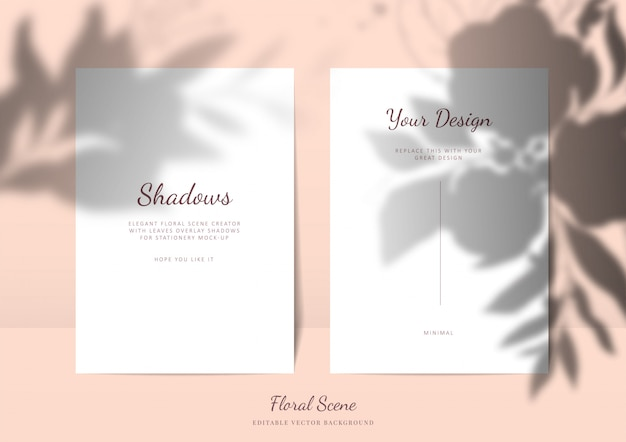 Maquete de cartões elegantes com sombras de sobreposição floral. cena de vetor editável papelaria vazio cartão com fundo de flores