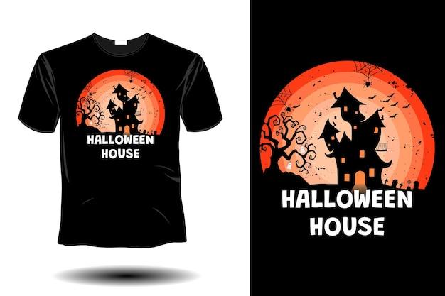 Maquete de casa de halloween com design retro vintage