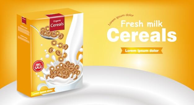 Maquete de cereais flocos de milho de centeio