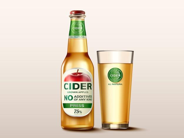 Maquete de cidra de maçã dura, garrafa de vidro de bebida com etiqueta na ilustração para uso
