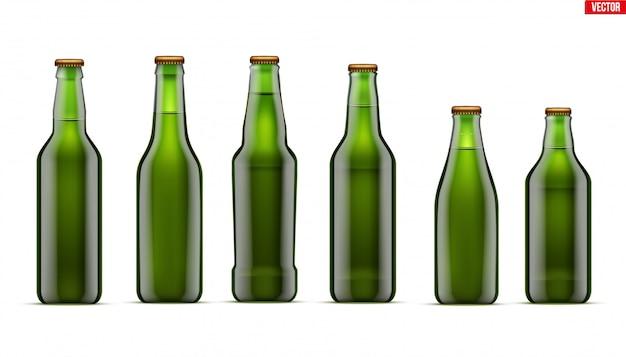 Maquete de conjunto de garrafa de cerveja artesanal