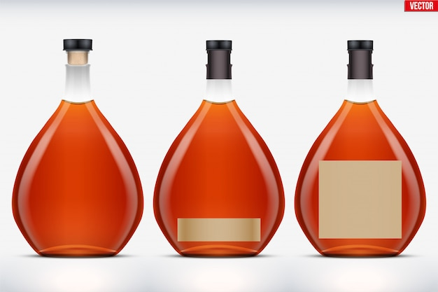 Maquete de conjunto de garrafa de conhaque