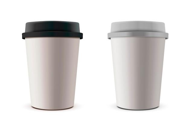Maquete de copo de papel para viagem, copos de café em branco definidos como ilustração
