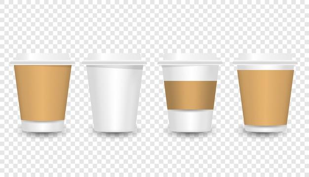 Maquete de copos de café de papel. ilustração 3d realista. modelo descartável de mesa de plástico e papel para bebidas quentes