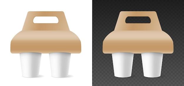 Maquete de copos de papel em suporte de papelão para transporte. canecas de modelo para bebidas quentes editáveis para branding. design realista de renderização 3d. ilustração vetorial